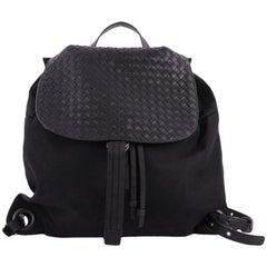 Bottega Veneta Drawstring Flap Backpack Technical Canvas w/ Intrecciato Leather