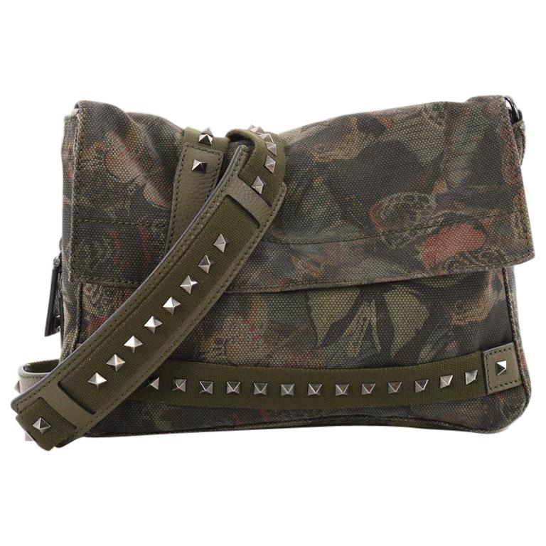 3ea9b23a03ed Valentino Rockstud Messenger Bag Camubutterfly Printed Canvas Small at  1stdibs