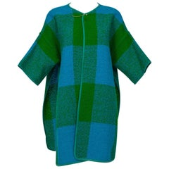 Bonnie Cashin Plaid Bouclé Blanket Coat, 1960s