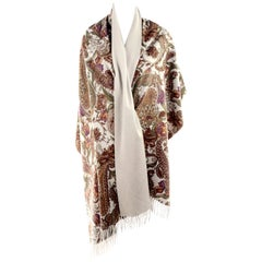 Loro Piana Cashmere Paisley Floral Print Stole Scarf or Wrap