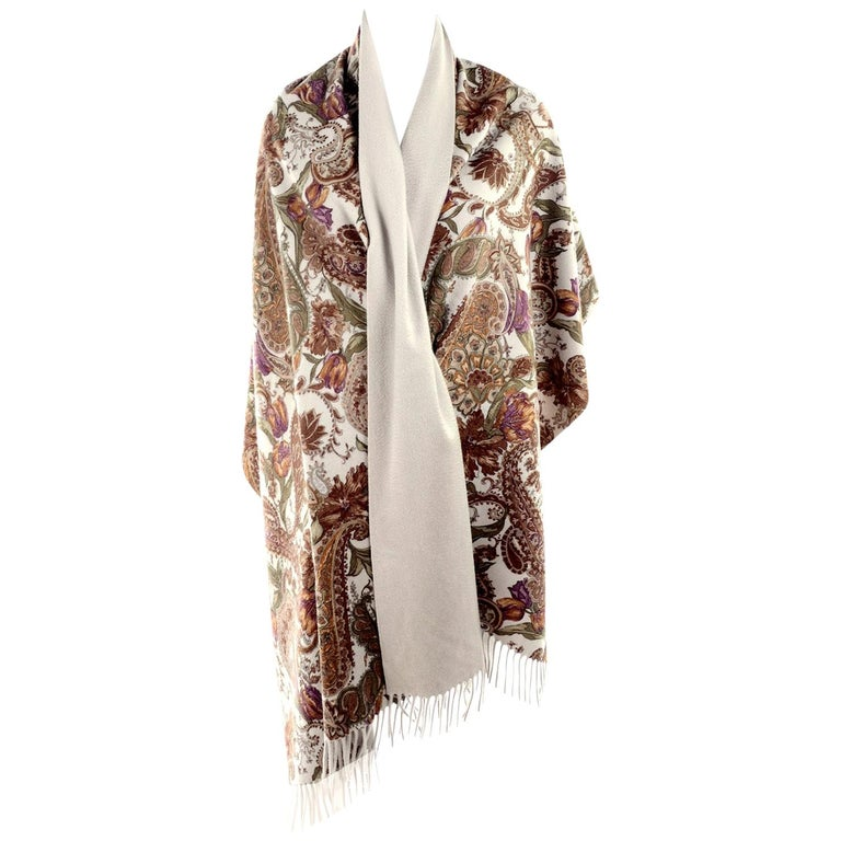 Loro Piana Cashmere Paisley Floral Print Stole Scarf or Wrap For Sale