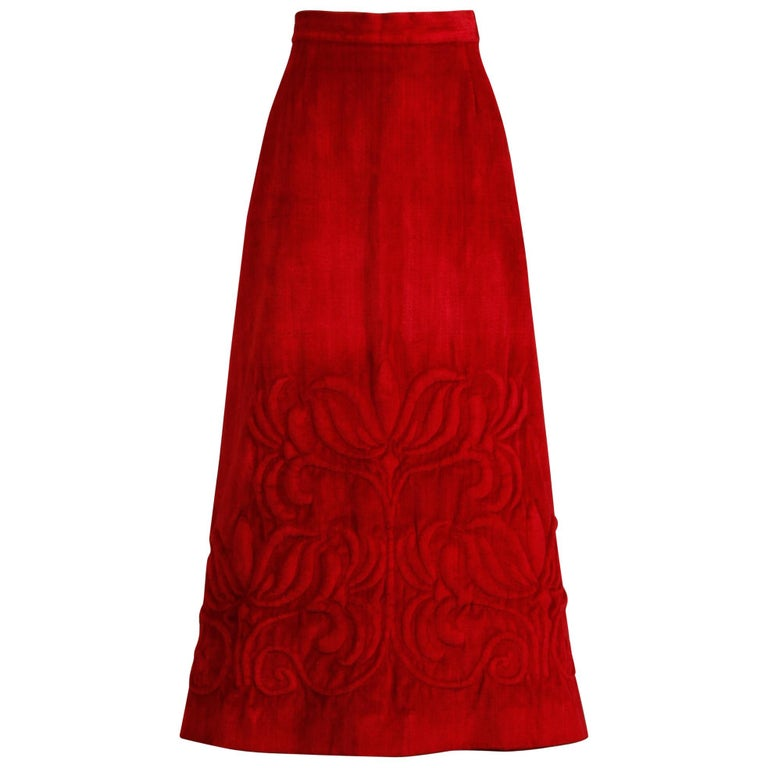 1970s Vintage Heavy Red Velour Maxi Skirt with Quilted Detail