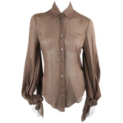 Gucci Brown Sheer Cotton Slit Tied Sleeve Blouse