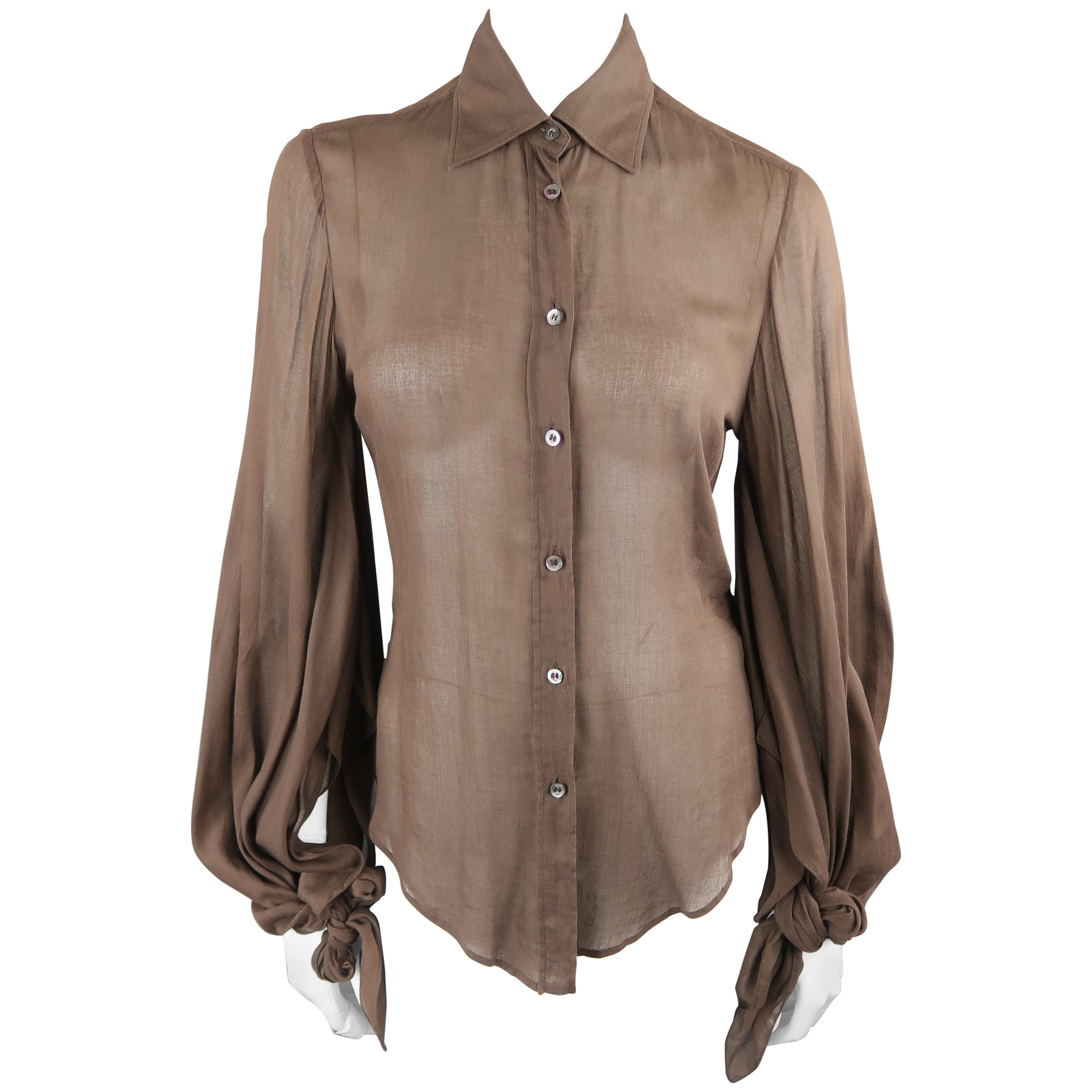 c095fcad5 Gucci Brown Sheer Cotton Slit Tied Sleeve Blouse at 1stdibs