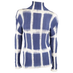 Issey Miyake White and Blue Windowpane Print Pleated Silk Mock Neck Top