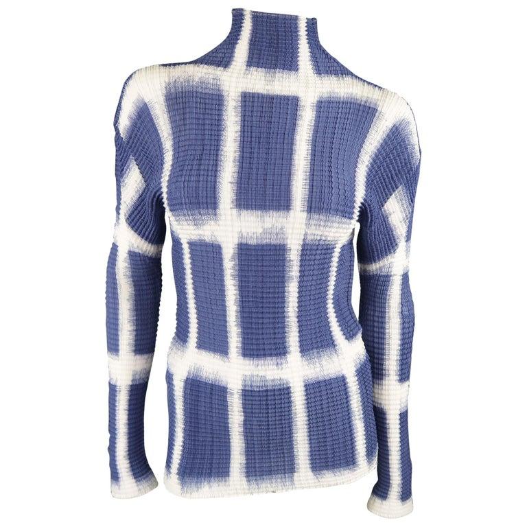 Issey Miyake White and Blue Windowpane Print Pleated Silk Mock Neck Top