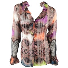 Etro Purple Orange and Green Abstract Paisley Silk Ruffle Blouse
