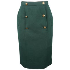 Chanel Vintage Forest Green Jersey Gold Button Pencil Skirt