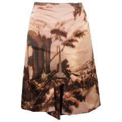 Prada Pink Wool / Silk Origami Pleat Landscape Skirt