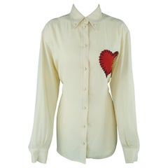 Moschino Cream Beige Stitched Heart Blouse