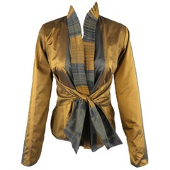 Etro Dark Gold and Teal Silk Wool Taffeta Ruffled Tie Jacket
