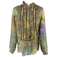 Etro Green Floral Chiffon Velvet Trimmed Ruffle Bib Blouse