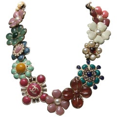 Chanel Glass and Enamel Floral Necklace