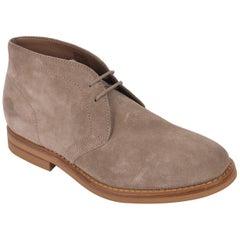 Brunello Cucinelli Mens Brown Suede Lace Up Desert Chukka Boots