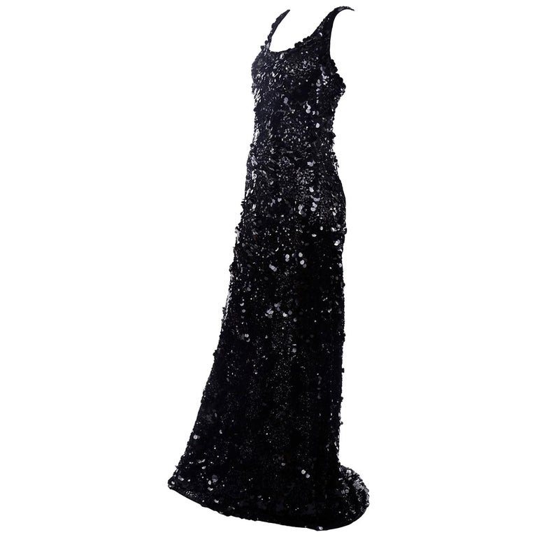 Vintage Evening Dress in Black W Sequins & Paillettes with Train & Bustle For Sale