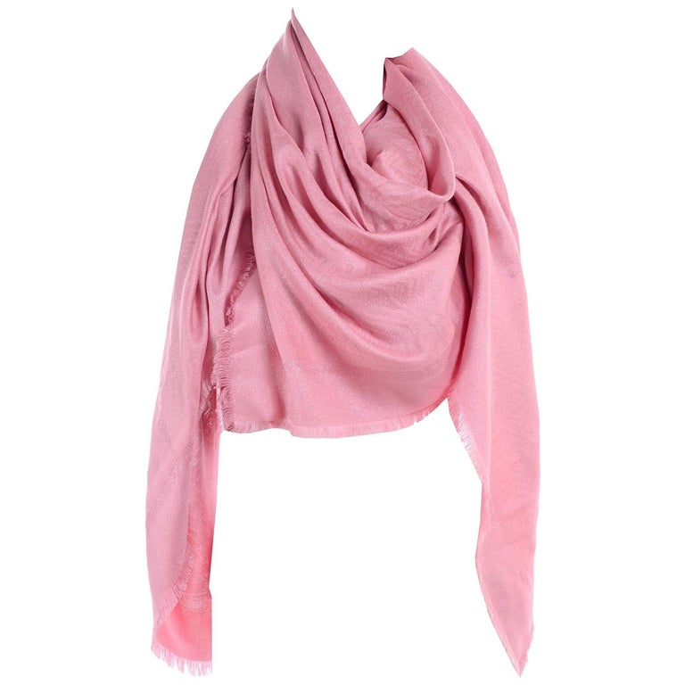 Fendi Pink Silk Glitter Jacquard Logo Scarf or Wrap With Fringe