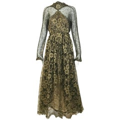 Geoffrey Beene Vintage Gold And Black Metallic Lace Dress