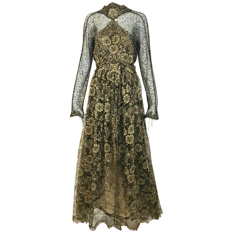 Geoffrey Beene Vintage Gold And Black Metallic Lace Dress  For Sale