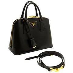 Prada Saffiano Leather Black Zip Gold 2 Way Shoulder Bag Handbag