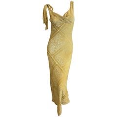 Maison Martin Margiela Ochre Sheer Devore Velvet Bias Cut Dress by Galliano 2016