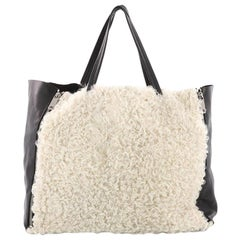 Celine Horizontal Gusset Cabas Tote Shearling and Leather Large