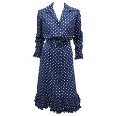 Victor Costa Blue and White Polka Dot Shirt Dress, 1970s