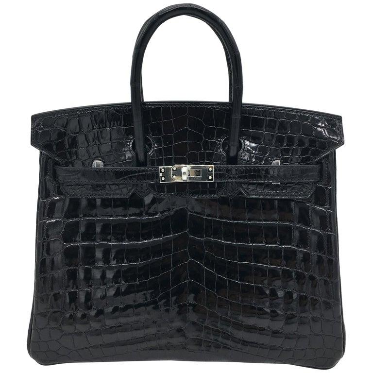Hermes Black shiny crocodile Birkin 25cm Bag