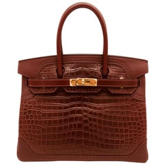Hermes Bourgogne / Rouge H matte crocodile and ghillies Birkin 30cm Bag