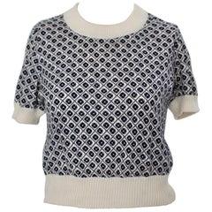 Rose Bernard Vintage Blue and White Allover Pattern Sweater 1960s