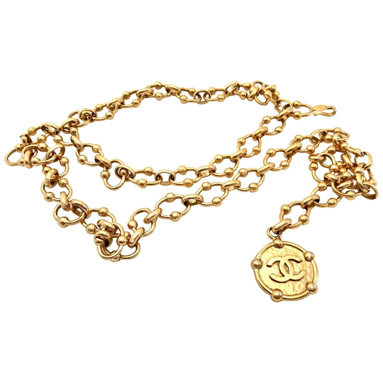 Chanel 80s Vintage Chain Belt with CC Medallion