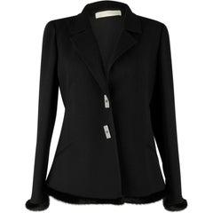 Valentino Jacket Black Wool w/ Mink Trim New 12