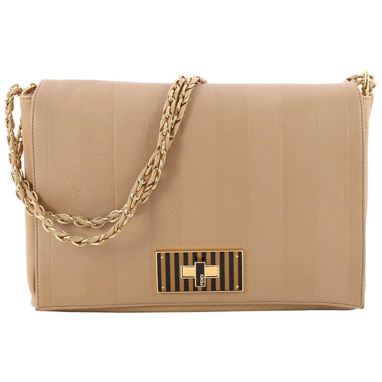 Fendi Claudia Shoulder Bag Pequin Embossed Leather Large For Sale