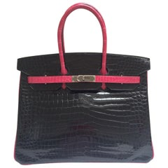 Hermes Black and fuchsia shiny crocodile Birkin 35cm Bag
