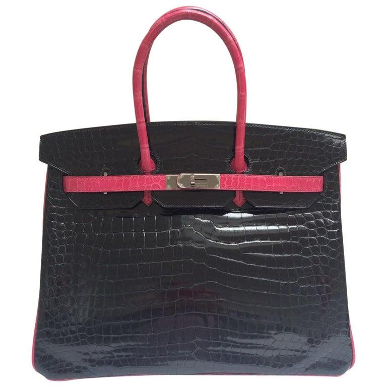 Hermes Black and fuchsia shiny crocodile Birkin 35cm Bag