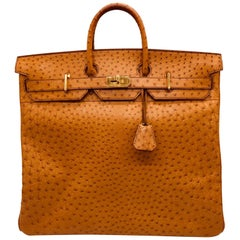 Hermes HAC Saffron ostrich Birkin 50cm Bag