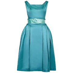 1950s Turquoise Satin Duchess Dress With Corseted Waistband