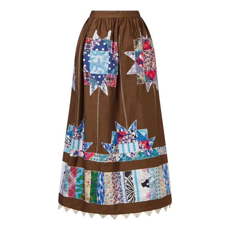 Belinda Belville 1970s Brown Cotton Patchwork Peasant Skirt  For Sale