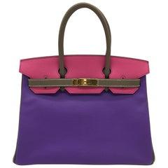 Hermes Parme/Rose Tyrien/Etoupe HSS Birkin 30cm Bag