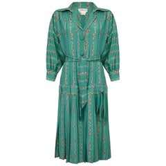 Bellville Sassoon 1970s Silk Flapper Style Floral Dress In Seafoam Green