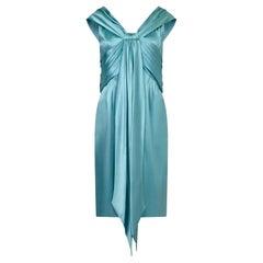 Hardy Amis Couture 1950s Silk Satin Aquamarine Occasion Dress