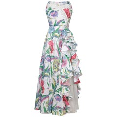 1950s White Organza Gown With Floral Print Overlay and Fitted Bodice