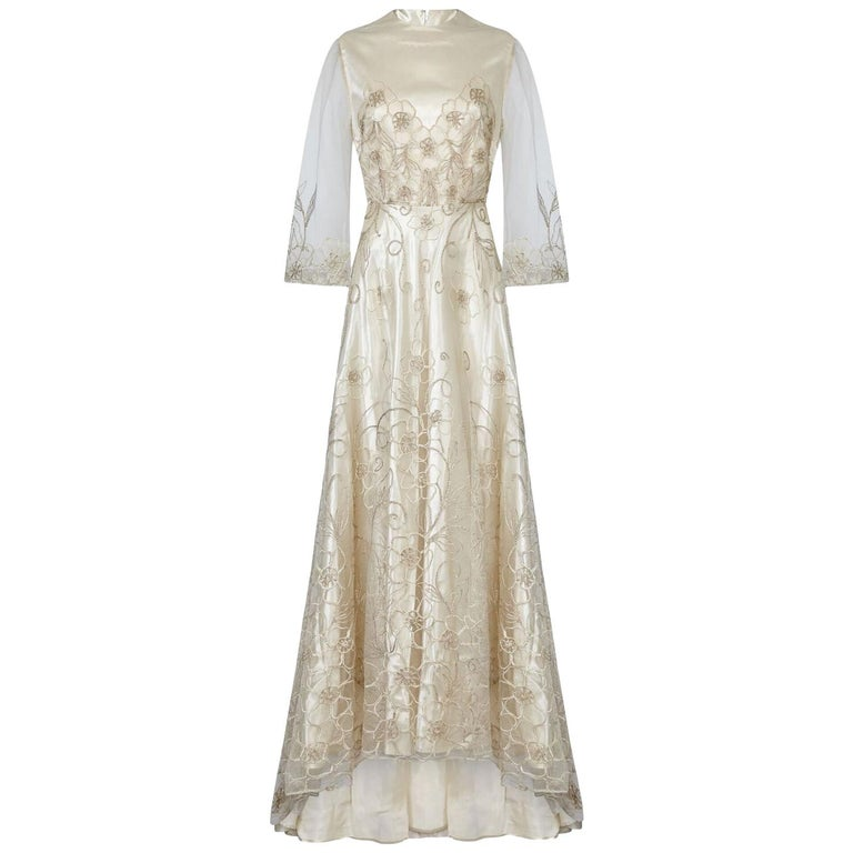 Late 1950s Ivory Wedding Dress With Delicate Embroidery Sold With Original Box