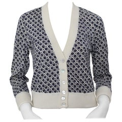 Rose Bernard Vintage Blue White Allover Pattern Cardigan, 1960s