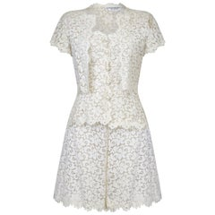 Yves Saint Laurent 1990s White Lace Three Piece Bridal Short Set
