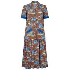 Teddy Tinling 1950s Cotton 2 Piece Set With Novelty Marine Fish Print