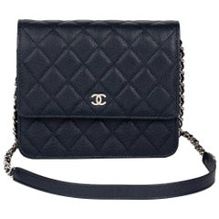 Chanel Navy Quilted Caviar Leather Square Wallet-on-Chain, 2018