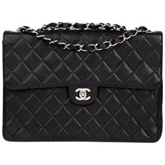 2001 Chanel Black Quilted Caviar Leather Classic Jumbo Flap Bag