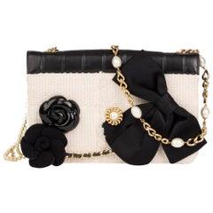 2002 Chanel Black Chocolate Bar Quilted Lambskin / Beige Tweed Motif Pin Jacket