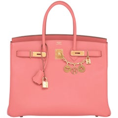 Hermes Flamingo Peach Pink Epsom Gold Hardware Birkin 35cm Bag