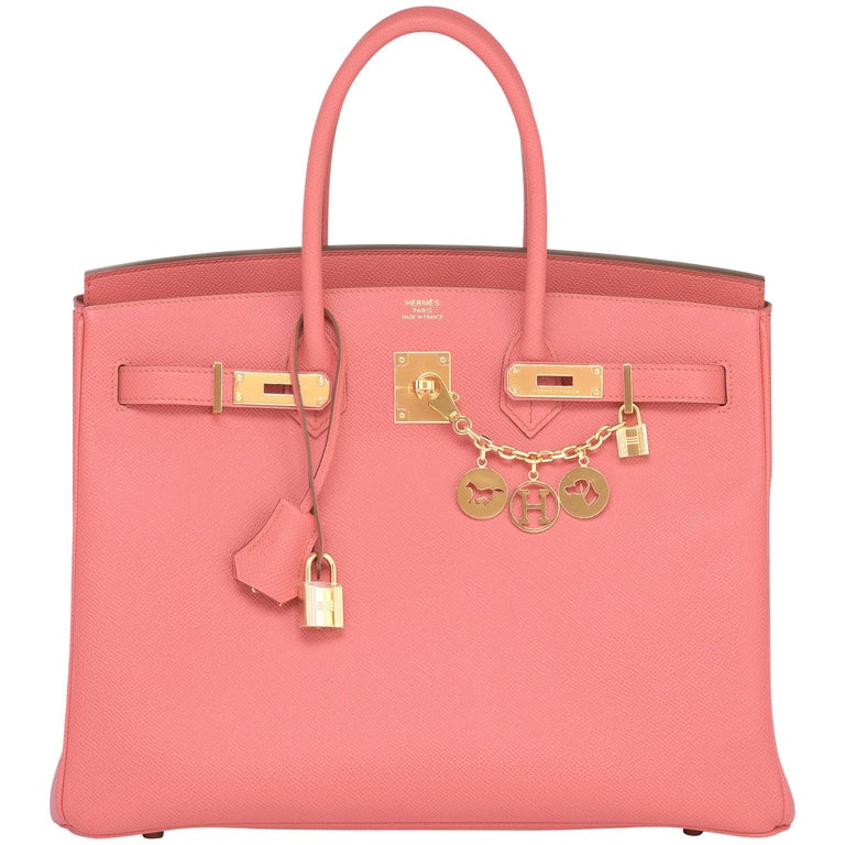 Hermes Flamingo Peach Pink Epsom Gold Hardware Birkin 35cm Bag For Sale